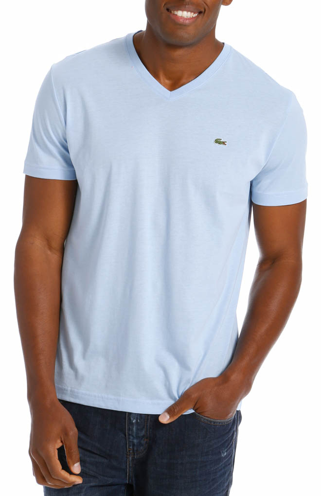 lacoste short sleeve pima jersey v neck t shirt th6604 51. Black Bedroom Furniture Sets. Home Design Ideas