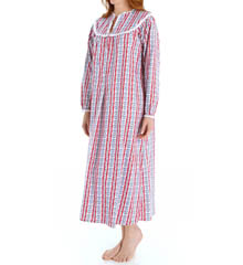 Lanz of Salzburg Classic V-Neck Long Flannel Gown 543687
