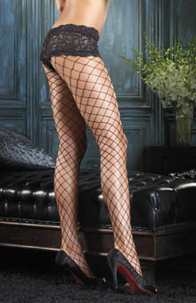 Fence Net Pantyhose with Boyshort Top