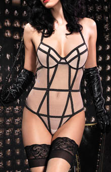 Mesh Halter Underwire Teddy with Vintage Stitching