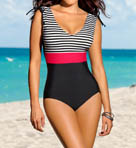Leonisa Stripe Bodice Tummy Control One Piece Swimsuit 190593