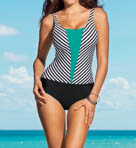 Leonisa Mitered Stripe Tummy Control One Piece Swimsuit 190598
