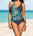 Leonisa Side Shirred Wrap Tummy Control One Piece Swimsuit 190601