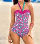 Strapless One Piece with Tummy Control Swimsuit Image