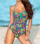 Strapless Ruched Cup Shaping One Piece Swimsuit Image