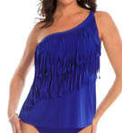 One Shoulder Underwire Fringe Tankini Swim Top Image