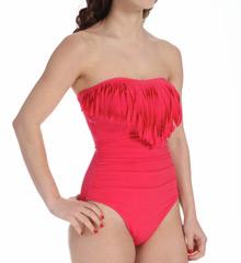MagicSuit Solid Bandeau Molly Fringe Trim One Piece Swimsuit 453681