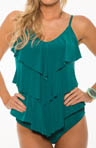 MagicSuit Solid Jersey Rita All Over Tiered Tankini Swim Top 464444