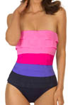 Tiered Jersey Leah Bandeau One Piece Swimsuit