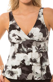 Tribal Floral Corynne Tiered Tankini Swim Top