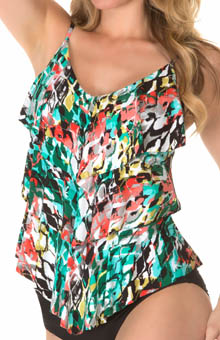 MagicSuit Anaconda Rita All Over Tiered Tankini Swim Top 475044