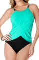 2 Tone Lisa Draped Jersey One Piece Swimsuit Image