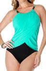 2 Tone Lisa Draped Jersey One Piece Swimsuit Image