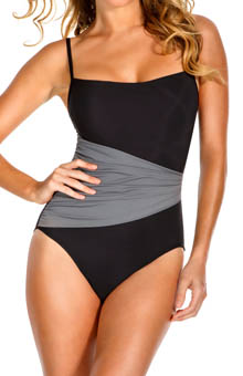 MagicSuit Solid Jersey Pleated Waist One Piece Swimsuit 475678