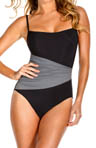 Solid Jersey Pleated Waist One Piece Swimsuit Image