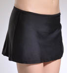Solid Side-Shirred Hipster Skirt Swim Bottom