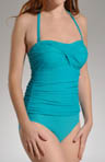 Solid Shirred Bandeau Control Swim Maillot