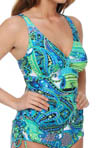 Maidenform Beach Drive Me Paisley Lift Underwire Tankini Swim Top 6302336