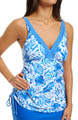 Maidenform Beach Batik Leaf Lift & Support UW Tankini Swim Top 6406309
