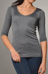 Shine 3/4 Sleeve Double Front V-Neck Top