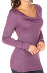 Michael Stars Shine Long Sleeve Drape Neck Top 0398