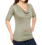Shine Elbow Sleeve Drape Neck Tee
