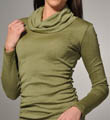 Michael Stars Shine Long Sleeve Cowl Neck Top with Side Shirring 0467