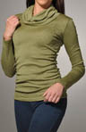 Shine Long Sleeve Cowl Neck Top with Side Shirring