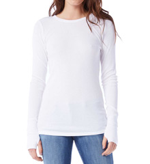 Michael Stars Thermal Long Sleeve Raw Edge Crew Neck 1402