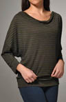 Heather Stripe 3/4 Sleeve Cowl Neck Shirt