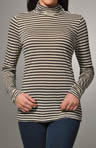 Heather Stripe Long Sleeve Turtleneck Top