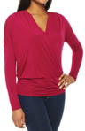 Jersey Lycra Long Sleeve Dolman Surplice Top
