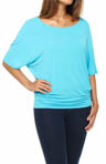 Michael Stars Jersey Lycra Elbow Sleeve Dolman Tee 2268