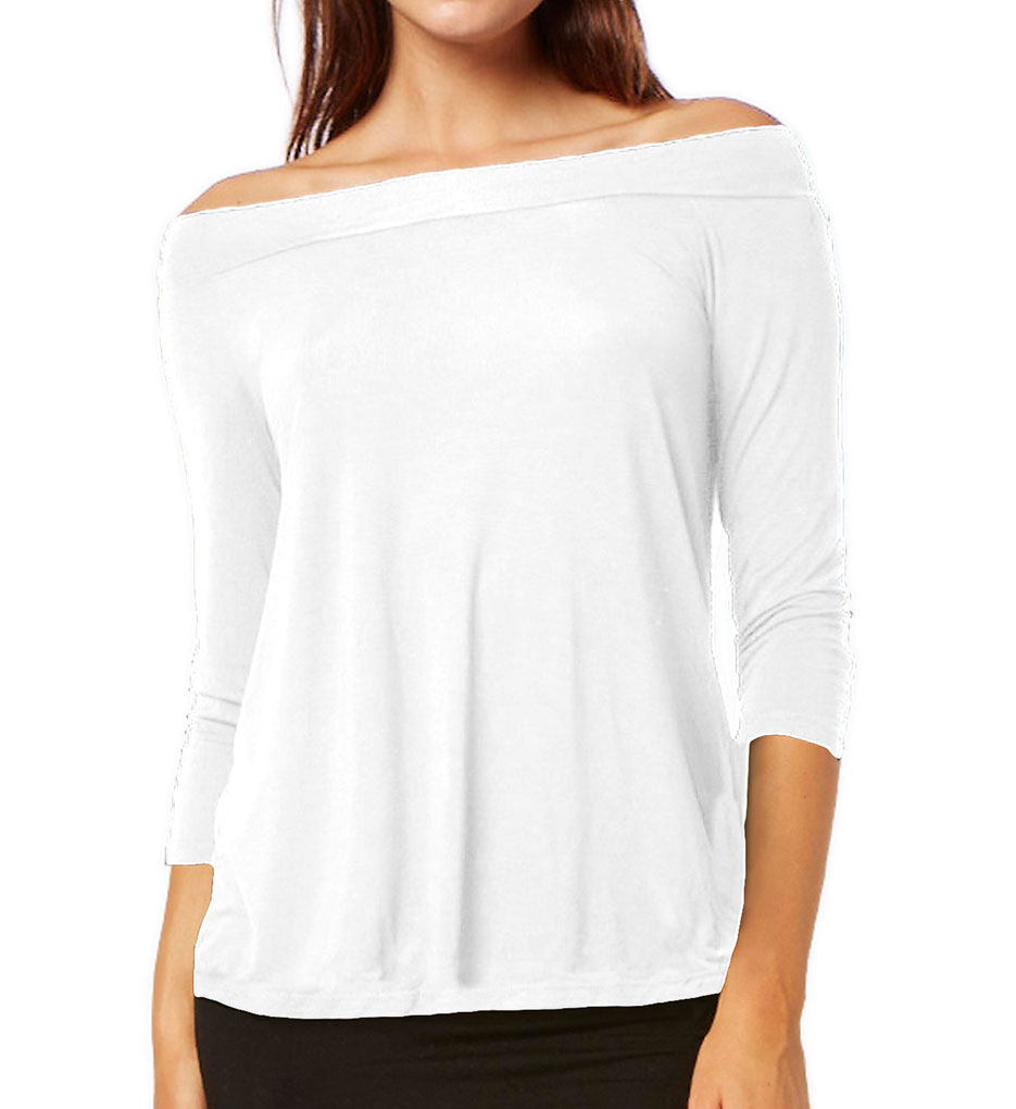 Michael stars jersey lycra 3 4 sleeve off shoulder top for Michael stars tee shirts