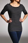 Michael Stars Highline Stripe Elbow Sleeve Boatneck Tee 2928
