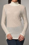 Michael Stars Poor Boy Rib Long Sleeve Turtleneck Top 4048