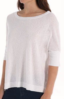 Slub Elbow Sleeve Boatneck Dolman Top