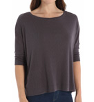 Slub Elbow Sleeve Boatneck Dolman Top Image