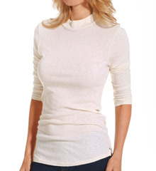 Michael Stars 1x1 Slub 3/4 Sleeve Mock Neck Tee 6167