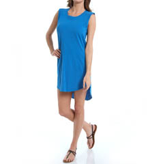 Michael Stars Slub Jersey/Voile Mix Sleeveless High Low Dress 6243