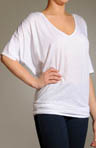 Relaxed V-Neck Top with Dolman Elbow Sleeve