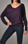 Michael Stars Luxe Slub Long Sleeve Relaxed V-Neck Shirt 6435