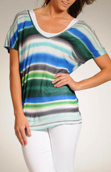 Blurry Stripe Short Sleeve Double V Tee