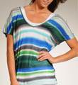 Michael Stars Blurry Stripe Short Sleeve Double V Tee 7545B