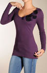 3D Flower Applique Long Sleeve Tee