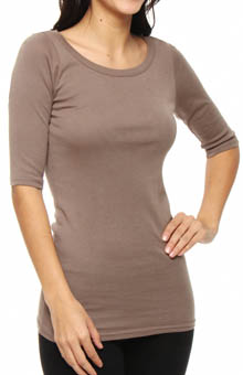 Michael Stars Wide Scoop Neck Elbow Sleeve Supima Tee 8779