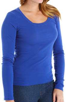 Supima Long Sleeve Scoop Neck Top