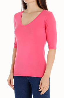 Michael Stars Supima Elbow Sleeve V Neck
