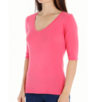 Michael Stars Supima Elbow Sleeve V Neck 8979