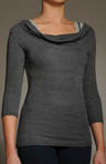 Shine 3/4 Sleeve Drape Neck Top with Crop Cami
